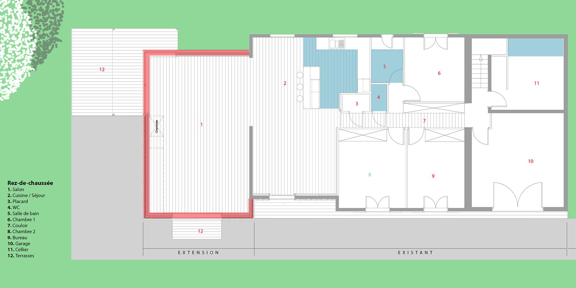 A traits architecture design graphique maison b saucats for Architecture graphique